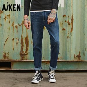 Aiken牛仔裤男2017秋季新款男士小脚裤子磨毛复古潮流简约长裤潮
