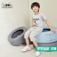 小虎宝儿童装男童纯棉短袖套装2018新款春夏季短袖T恤两件套韩版