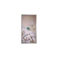 客厅油画现代装饰画花卉竖版玄关走廊中式挂画玉兰花小鸟油画 103x203 单幅