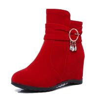 2018秋冬季新款短靴女内增高学生短筒靴高跟鞋女骑士靴子平底女鞋真皮