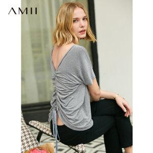 【到手价:51.9元】Amii极简chic时尚洋气T恤女2019夏季新款V领两穿抽褶宽松休闲上衣