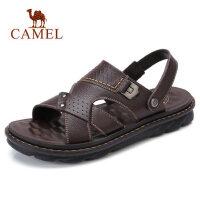 camel 骆驼男凉鞋夏季新品休闲鞋两穿凉拖鞋厚底牛皮沙滩鞋男