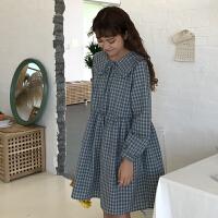 2018春夏新款韩版学院风系带显瘦格子学生娃娃领长袖宽松连衣裙女