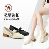 骆驼牌女鞋 春季新款休闲玛丽珍女鞋粗跟时尚舒适方跟浅口女单鞋
