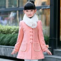 6儿童7女童毛呢外套8中大童女装9秋冬装10女孩11呢子大衣12岁 粉色 .