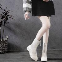 马丁靴女短靴2018新款秋季英伦风学生韩版百搭前拉链白色hgl