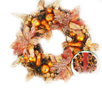 圣诞节装饰品圣诞花环门饰藤条花圈门挂环圈橱窗挂饰场景布置用品 巧克力色 50cm礼盒