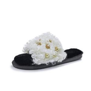 WARORWAR新品YM61-077秋冬欧美平底鞋舒适蝴蝶结女士毛毛拖鞋