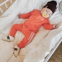 沃康婴儿衣服春秋季装幼儿运动两件套新生儿男女宝宝纯棉分体套装