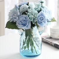 家居仿真玫瑰花束陶瓷玻璃花瓶花艺套装假花客厅卧室餐桌花装饰摆件