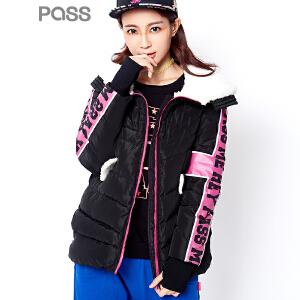 【不退不换】PASS潮牌冬装新款 修身印花时尚连帽羽绒服女6640932025