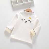 女童打底衫加绒加厚秋冬装宝宝纯棉T恤长袖高领冬季儿童保暖上衣 白色 (加绒加厚)
