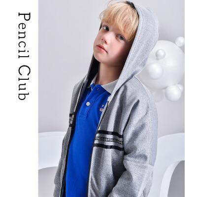 【2件3折价:78.9元】铅笔俱乐部童装秋冬新款儿童男童针织外套连帽大童上衣双层保暖