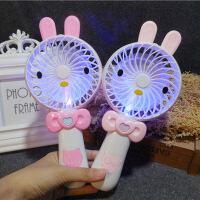 K0913 创意小兔子风扇USB充电风扇带灯光儿童学生台式手持小风扇