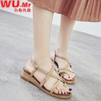 乌龟先森 凉鞋 女士坡跟罗马扣带女鞋女式平底露趾复古鞋百搭韩版夏季新款学生凉鞋子