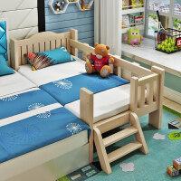 实木儿童床带护栏小床婴儿男孩女孩公主床单人床边床加宽拼接大床o8h