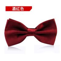 正装结婚礼服英伦韩版蝴蝶结男士领结男伴郎新郎酒红色领结