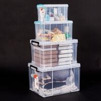收纳箱加厚塑料白透明特大号手提储物箱直角衣服整理有盖箱子