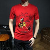 半截袖毛衣男针织衫修身款牛图案刺绣红色短袖毛衫韩版半袖打底衫