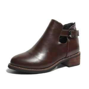 WARORWAR 2019新品YM89-910冬季欧美低跟鞋舒适女鞋潮流时尚潮鞋百搭潮牌靴子裸靴