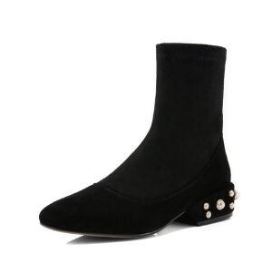 WARORWAR法国新品YG04-A116冬季欧美羊皮羊反绒皮真皮弹力低跟女士靴子马丁靴短靴