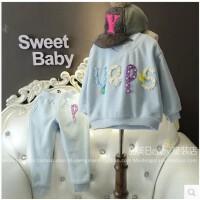 韩国童装2018冬季新款女童套装卫衣卫裤套装女宝宝T恤长裤A6-B4