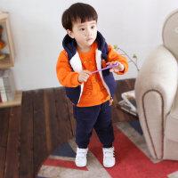 男宝宝秋装套装0一1-2-3岁韩版潮装男孩帅气加绒儿童装冬装三件套 橙色 可开档 73cm(70码建议身高55-65c