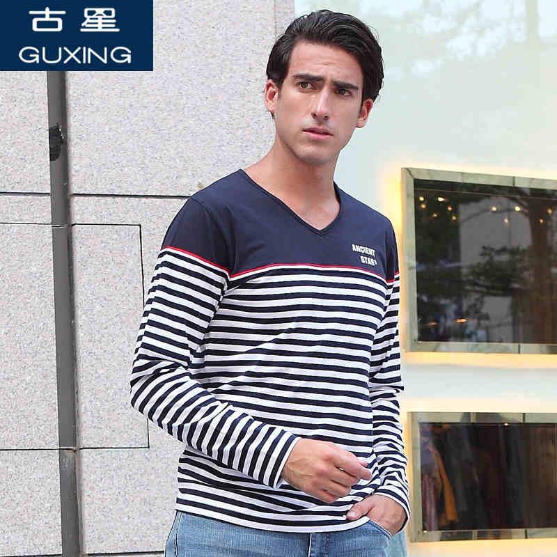 春秋季新品男士长袖T恤V领休闲针织上衣运动修身套头打底撞色条纹 修身版型