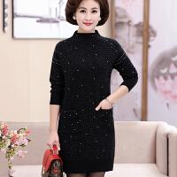 中老年时尚韩版连衣裙妈妈冬装宽松中长款打底衫中年女装毛衣裙子