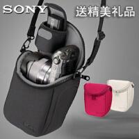 索尼LCS-BBF微单相机包NEX5N 5Ta5100a5000a6000A6300A SONY玫红+电池包+清洁布