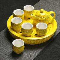 陶瓷茶盘大号储水圆形干泡盘整套家用隔热双层功夫茶具套装功夫