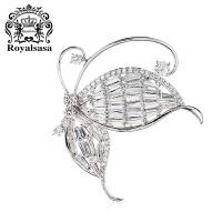 皇家莎莎韩版蝴蝶胸针项链两用时尚胸花别针女士仿水晶配饰品