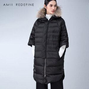 [AMII东方极简] JII AMII冬季新品貉子毛连帽七分袖长款加厚白鸭绒羽绒服女