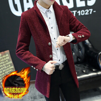冬季毛呢大衣男修身短款呢子外套青少年学生韩版帅气加绒加厚风衣