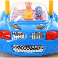 婴儿学步手推车玩具防侧翻宝宝学步推车多功能 带音乐 7-18个月 汽车款蓝色有音乐灯光 送电池增重袋