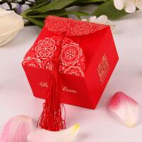 糖盒创意中国风装糖袋流苏喜糖盒子方形纸糖盒婚礼喜糖袋子 可装20颗阿尔卑斯(50只价)