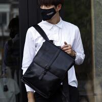 2018新款男士真皮双肩包商务休闲英伦复古背包时尚潮流旅行电脑包