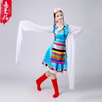 新款女装藏族舞蹈服装演出服装民族舞蹈表演服水袖西藏藏族