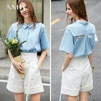 【到手价:122元】Amii极简知性韩版翻领宽松衬衫2019夏新落肩袖拼接蕾丝全棉衬衫