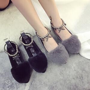 女式 秋季新款百搭平底毛毛鞋女棉鞋