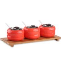 陶瓷调料缸 料盒带勺 三件套 金瓜调味罐 彩色调味瓶