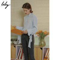 Lily春新款女装全粘纤袖口系带衬衫118330C4201