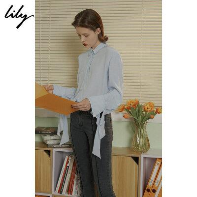 Lily春新款女装全粘纤袖口系带衬衫118330C4201 秋冬热卖限时1.3折!全场每满200减20