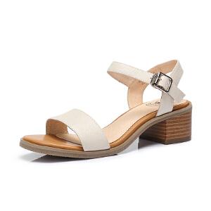 camel 骆驼女鞋2018夏季新款韩版学生真皮软粗跟罗马一字扣中跟女夏凉鞋