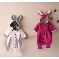 女婴儿连体衣服秋冬季0岁5个月男宝宝6冬装衣服靓仔新生儿外出服