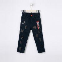 【2件3折到手价:62.7】美特斯邦威旗下moomoo童装女童牛仔裤新款冬季迪士尼卡通洋气中大儿童长裤子