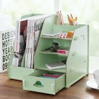 木质办公室文件收纳盒DIY文件架 创意桌面抽屉式文具书立盒整理盒