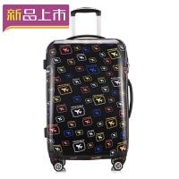 2018旅行箱拉杆箱韩版小清新女万向轮个性行李箱28寸密码箱大容量皮箱 飞机印花 20寸