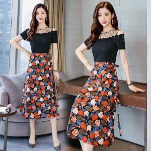 2018夏季新款韩版花色两件套裙小香风气质连衣裙女装