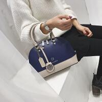 韩谷儿大气小包包女新款女包百搭贝壳包手提包单肩包 深蓝配卡其 预售,先拍先发